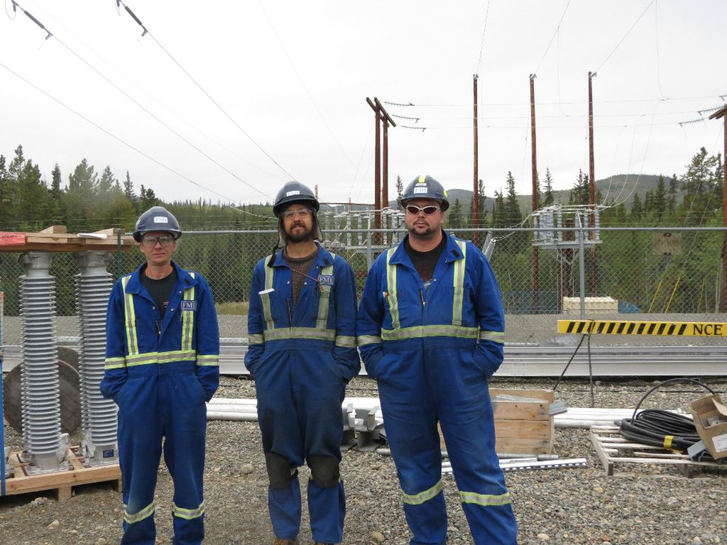 Three of our Whitehorse members working at Takhini Sub Station after being sworn in on site left to right:  Paul Arndt , Ken Sananin and Greg Brown