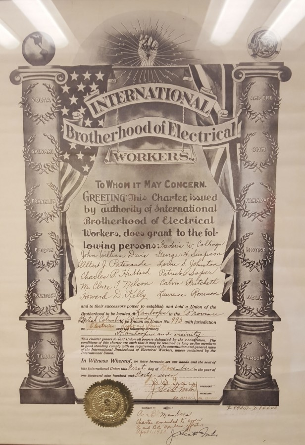 The International Brotherhood of Electrical Workers Local 993 Charter signed November 1, 1947