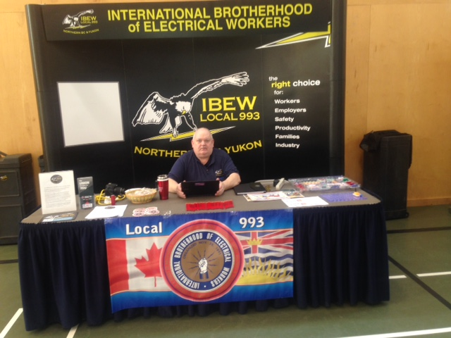 Booth at Career Fair with the Stellaten & Nadleh First Nations